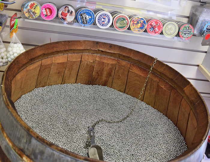 Fill your own tin with BBs at the Daisy Airgun Museum Gift Shop