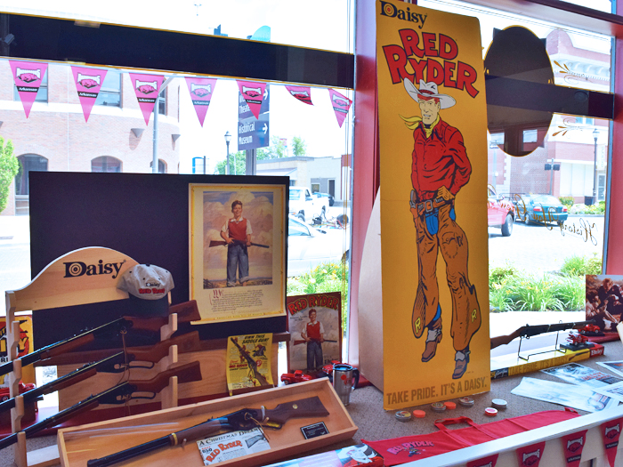 Window at Daisy Airgun Museum in downtown Rogers (1)