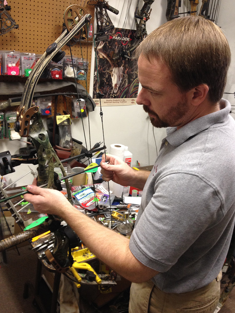 Nick Wolfe Working on a Bow