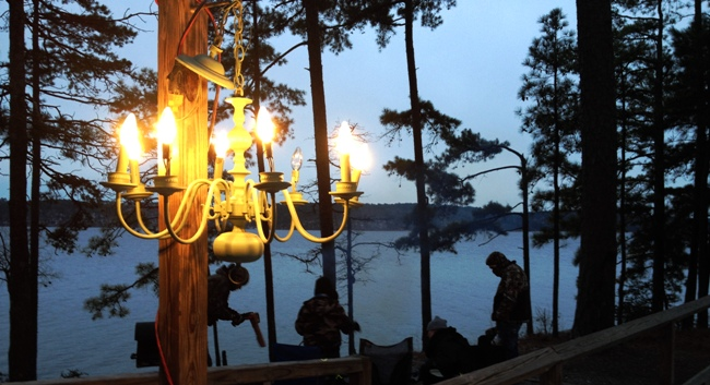 Chandelier lighting at the yurt site at Lake DeGray State Park