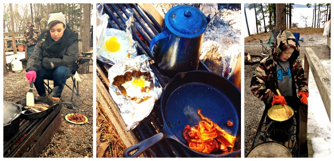 Cooking outside of the yurt at lake DeGray State Park