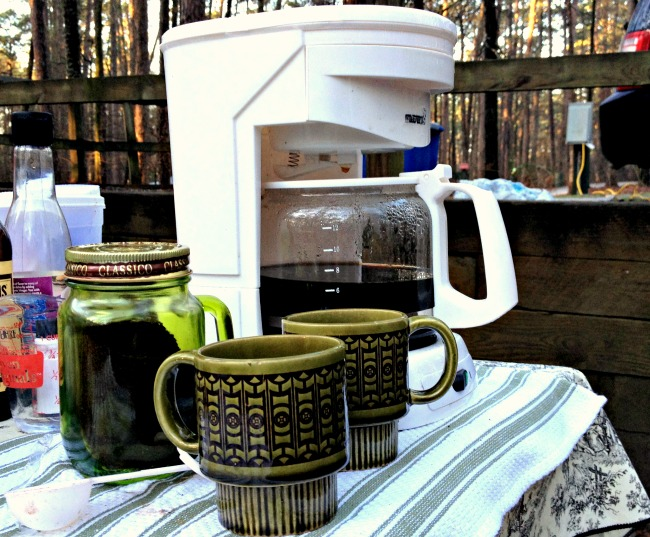 Electric coffee pot is a smart idea when you go camping if you want your morning joe in a hurry