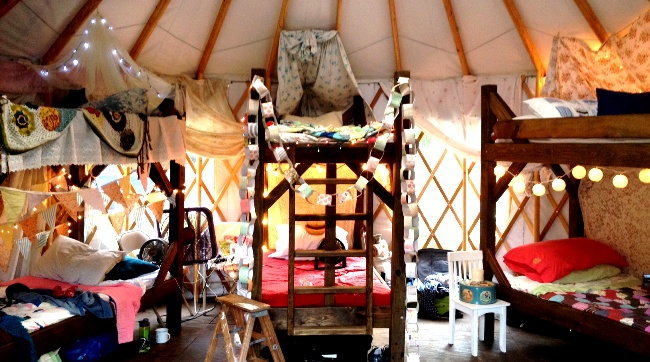 Glamping out the inside of a yurt at Petit Jean State Park