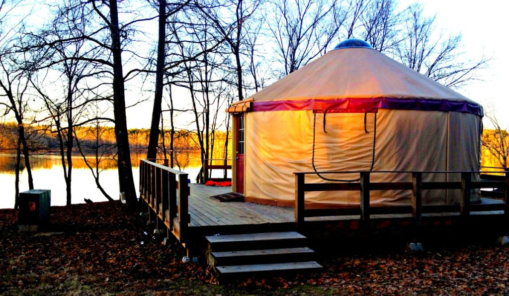 Yurt at Petit Jean State Park at sunset