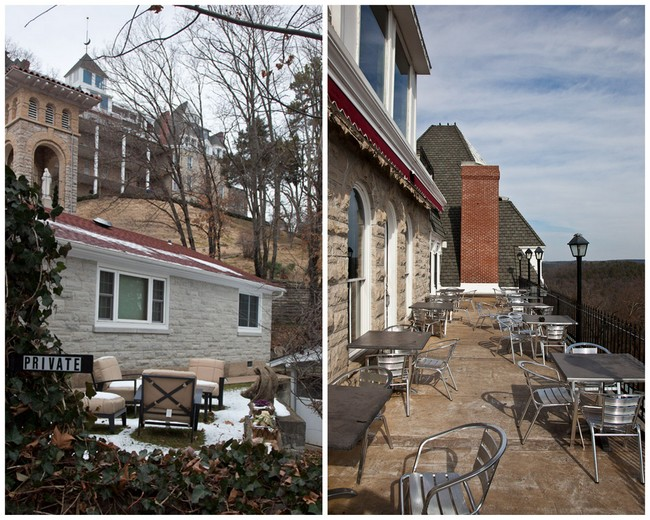 Eureka Springs Crescent Hotel exterior and deck showing penthouse by Grav Weldon