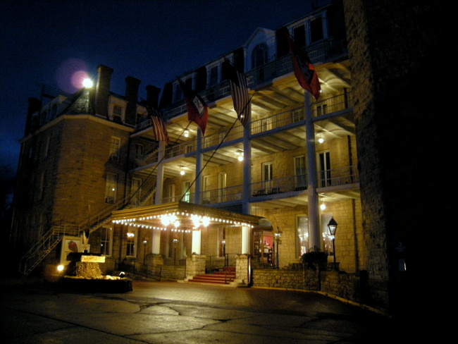 Eureka Springs Crescent Hotel exterior at night by Kat Robinson