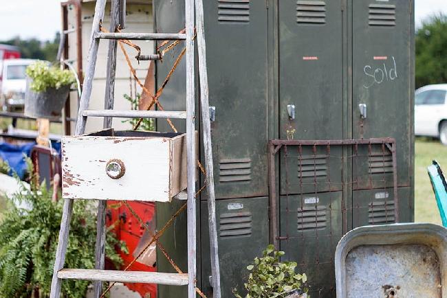 The Junk Ranch old ladder vintage lockers Prairie Grove