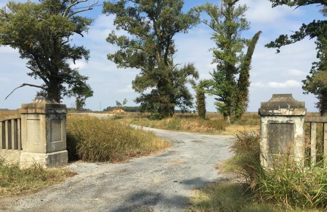 Original stone gates into POW camp, Bassett, Ar