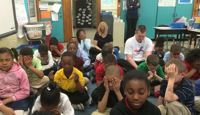 Children in School Meditate Mindful Minute Crim Foundation
