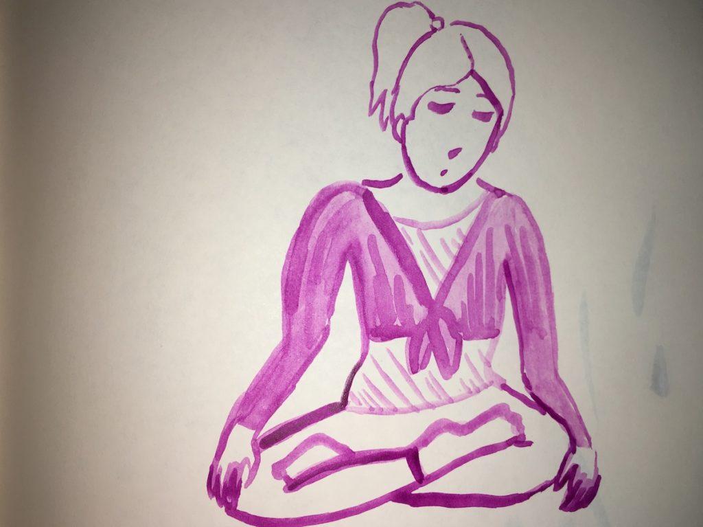 banner woman meditating