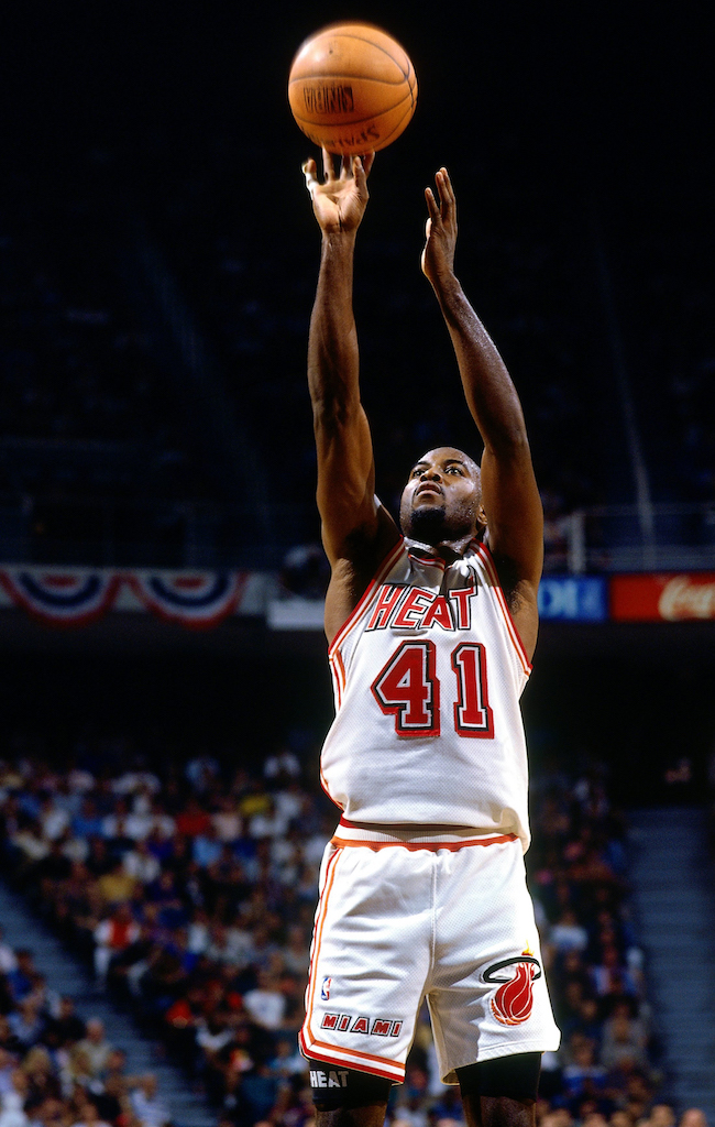 MIAMI - MAY 3: Glen Rice #41 of the Miami Heat shoots a jumper against the Atlanta Hawks in Game Three of the Eastern Conference Quarterfinals during the 1994 NBA Playoffs at Miami Arena on May 3, 1994 in Miami, Florida. The Heat won 90-86. NOTE TO USER: User expressly acknowledges that, by downloading and or using this photograph, User is consenting to the terms and conditions of the Getty Images License agreement. Mandatory Copyright Notice: Copyright 1994 NBAE (Photo by Nathaniel S. Butler/NBAE via Getty Images)