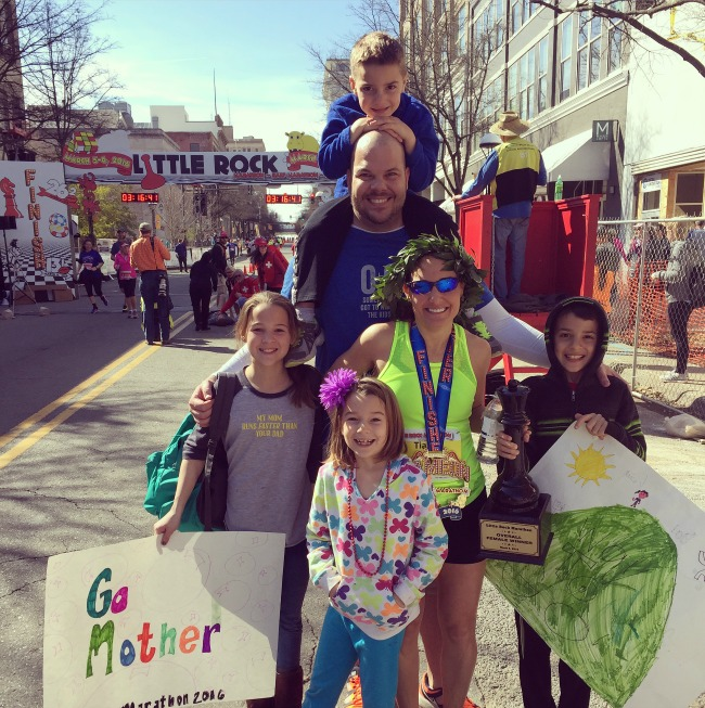 Marathon Win with Family Tia Stone