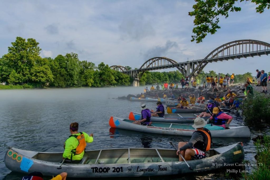 White River Boy Scouts Canoe Race Canoes Launch Cotter Arkansas