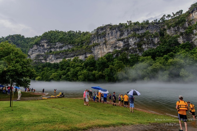 White River Boy Scouts Canoe Race Fog and Bluffs