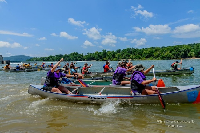 White River Boy Scouts Canoe Race Scouts Attempt to Gain Lead