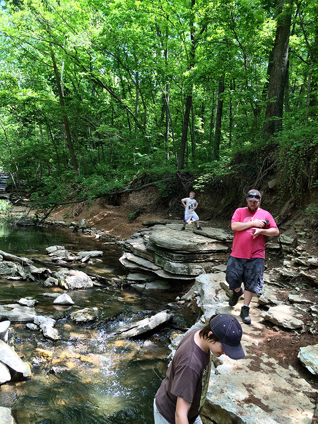 Exploring the creek at Tanyard Creek Nature Trail