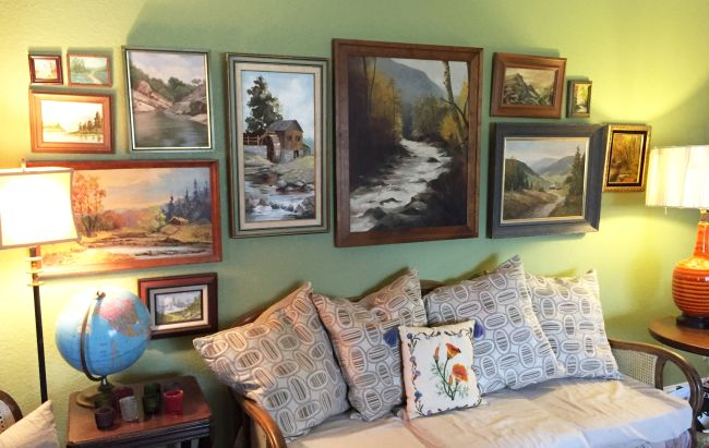 My Living Room U201cgallery Wallu201d Was Created With Landscape Paintings Picked  Up Primarily At Thrift Stores. The Large One In The Middle Was A $10.00  Find, ...